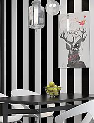 cheap -Wallpaper Wall Covering Sticker Film Stripe Black White Vinyl PVC Home Decor 53*1000cm