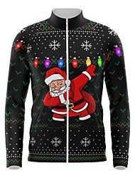cheap -21Grams Men's Long Sleeve Cycling Jersey Spandex Black Santa Claus Bike Top Mountain Bike MTB Road Bike Cycling Quick Dry Moisture Wicking Sports Clothing Apparel / Athleisure