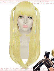 cheap -Death Note Amane Misa Cosplay Wigs Women's Straight bangs 27.5 inch Heat Resistant Fiber Natural Straight Yellow Adults' Anime Wig