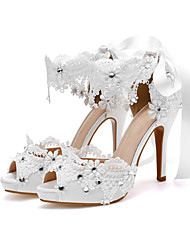 cheap -Women's Wedding Shoes High Heel Open Toe Wedding Office Satin Lace Solid Colored White