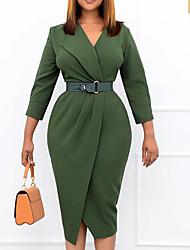 cheap -Women's Sheath Dress Knee Length Dress Green Red Navy Blue 3/4 Length Sleeve Solid Color Ruched Fall V Neck Work Elegant 2021 S M L XL XXL 3XL
