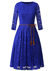 cheap -Women's A Line Dress Knee Length Dress Blue Blushing Pink Wine Black Dark Blue Long Sleeve Solid Color Lace up Lace Fall Round Neck Casual 2021 S M L XL XXL
