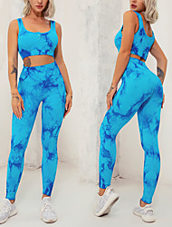 cheap -Women's Tracksuit Yoga Suit Summer Seamless Tie Dye Vest / Gilet Tights Clothing Suit Blue Pink Yoga Fitness Gym Workout Tummy Control Butt Lift Quick Dry Sleeveless Sport Activewear High Elasticity