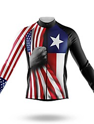 cheap -21Grams Men's Long Sleeve Cycling Jersey Spandex Red American / USA Bike Top Mountain Bike MTB Road Bike Cycling Quick Dry Moisture Wicking Sports Clothing Apparel / Stretchy / Athleisure