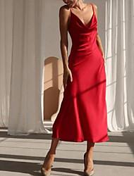 cheap -A-Line Spaghetti Strap Ankle Length Charmeuse Bridesmaid Dress with Pleats