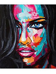 cheap -Oil Painting Handmade Hand Painted Wall Art Francoise Nielly Knife Abstract Portrait Face People Posters Home Decoration Decor Rolled Canvas No Frame Unstretched