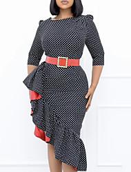 cheap -Women's Sheath Dress Knee Length Dress Black Half Sleeve Polka Dot Ruffle Plus High Low Print Fall Round Neck Work Casual Regular Fit 2021 M L XL