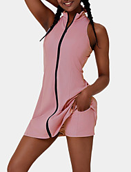 cheap -Women's 2pcs Yoga Suit Summer 2 Piece Front Zip Solid Color Shorts Tank Top Clothing Suit Pink Black Yoga Fitness Gym Workout Quick Dry Moisture Wicking Breathable Sleeveless Sport Activewear Stretchy