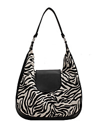 cheap -Women's Bags Linen Synthetic Tote Top Handle Bag Zipper Plain Geometric Daily Outdoor Retro Leather Bag Tote Black / White Black Brown