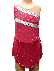 cheap -Figure Skating Dress Women's Girls' Ice Skating Dress Pink Spandex High Elasticity Training Competition Skating Wear Solid Color Crystal / Rhinestone Sleeveless Ice Skating Winter Sports Figure