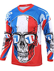 cheap -21Grams Men's Long Sleeve Downhill Jersey Spandex Blue Skull Bike Top Mountain Bike MTB Road Bike Cycling Quick Dry Moisture Wicking Sports Clothing Apparel / Stretchy / Athleisure
