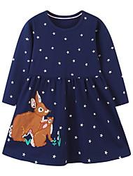cheap -Kids Little Girls' Dress Galaxy Rabbit Animal A Line Dress Daily Print Navy Blue Knee-length Long Sleeve Princess Cute Dresses Fall Spring Regular Fit 1-5 Years