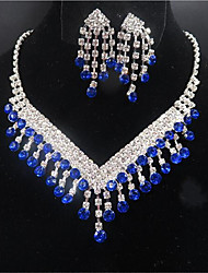 cheap -Women's Bridal Jewelry Sets Geometrical Precious Tassel Silver Plated Earrings Jewelry Blue For Christmas Party Wedding Gift Festival 1 set
