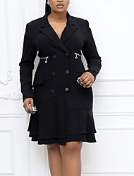 cheap -Women's Sheath Dress Knee Length Dress White Black Long Sleeve Solid Color Layered Button Fall V Neck Work Elegant Casual Regular Fit 2021 M L XL