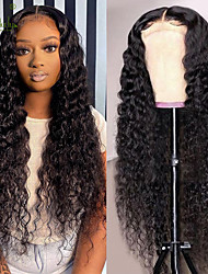 cheap -150% 180% 13x4 Sterly Brazilian Deep Wave Frontal Wig Deep Curly Human Hair Wig Lace Closure Wigs For Women Part Lace Front Wigs