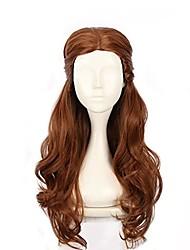 cheap -long brown wig  long loose curly brunette women pelucas with detachable bun halloween costume fun braided updo victorain wig (l)