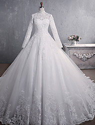 cheap -Princess A-Line Wedding Dresses High Neck Court Train Lace Tulle Long Sleeve Formal Romantic Luxurious with Appliques 2021