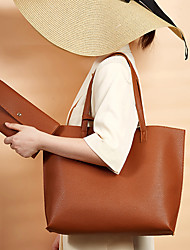 cheap -Women's Bags PU Leather Tote Bag Set Top Handle Bag 2 Pieces Purse Set Tassel Plain Solid Color Daily Date Bag Sets Tote Handbags Blue Blushing Pink White Black