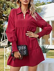 cheap -Women's Shirt Dress Short Mini Dress Red Long Sleeve Solid Color Ruched Fall Shirt Collar Casual Regular Fit 2021 S M
