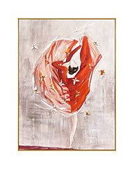 cheap -Oil Painting Handmade Hand Painted Wall Art Dancing Girl In Red Dress Modern Home Decoration Decor Rolled Canvas No Frame Unstretched