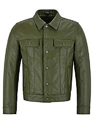 cheap -men's new trucker olive green leather jacket classic cowhide leather shirt style jacket 1280 (3xl)