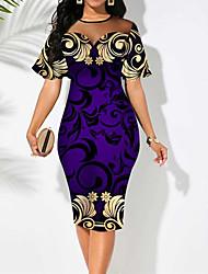 cheap -Women's Sheath Dress Knee Length Dress Purple Short Sleeve Floral Color Block Print Fall Summer Round Neck Work Casual 2021 S M L XL XXL 3XL