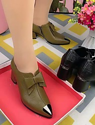 cheap -Women's Heels High Heel Pointed Toe Daily Work PU Bowknot Solid Colored Green Black