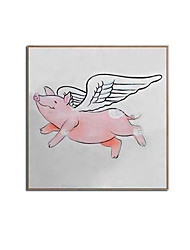 cheap -Oil Painting Handmade Hand Painted Wall Art Modern Animal Pink Pig Abstract Home Decoration Decor Stretched Frame Ready to Hang