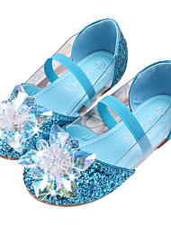 cheap -Girls' Flats Glitters Flower Girl Shoes PU Little Kids(4-7ys) Toddler(2-4ys) Party Wedding Sequin Crystals / Rhinestones Blue Pink Gold Fall Spring