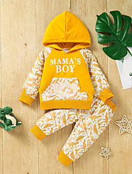 cheap -2 Pieces Baby Boys' Hoodie & Pants Clothing Set Active Fashion Vacation Yellow Green Camouflage Letter Patchwork Print Long Sleeve Regular