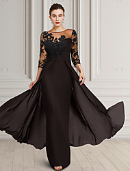 cheap -Sheath / Column Mother of the Bride Dress Elegant Jewel Neck Floor Length Chiffon Lace 3/4 Length Sleeve with Appliques 2021