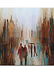 cheap -Oil Painting Handmade Hand Painted Wall Art Mintura Modern Abstract Streets Figure Picture For Home Decoration Decor Rolled Canvas No Frame Unstretched