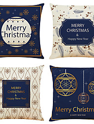 cheap -Christmas Party Decoration Christmas Gift Double Side Cushion Cover 4PC Soft Decorative Square Throw Pillow Cover Cushion Case Pillowcase for Bedroom Livingroom Superior Quality Machine Washable Indoor Cushion for Sofa Couch Bed Chair