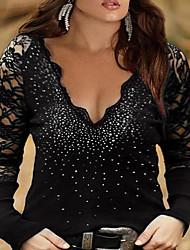 cheap -Women's Plus Size Tops Blouse Shirt Plain Lace Trims Long Sleeve V Neck Basic Streetwear Fall Summer Blue Wine Black Big Size L XL XXL