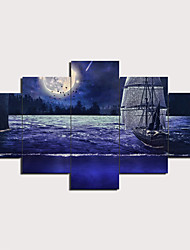 cheap -5 Panels Wall Art Canvas Prints Painting Artwork Picture Moonlight Sail Painting Home Decoration Decor Rolled Canvas No Frame Unframed Unstretched