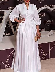cheap -Women's Plus Size Dress A Line Dress Maxi long Dress 3/4 Length Sleeve Solid Color Ruched Casual Fall Winter White L XL XXL 3XL / Party Dress