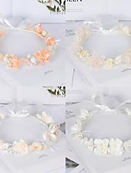 cheap -The Bride Child Simulation Wreath Headdress Handmade Pearl Flower Hair Accessories Fairy Wedding Dress Head Flower