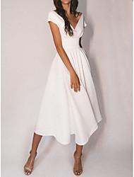 cheap -A-Line Wedding Dresses V Neck Tea Length Satin Cap Sleeve Simple Sexy Little White Dress with Pleats 2021