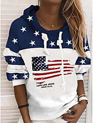 cheap -Women's Hoodie Sweatshirt American US Flag Stars Print Casual Sports 3D Print Active Streetwear Hoodies Sweatshirts  White