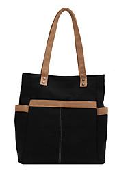 cheap -Women's Bags Canvas Tote Top Handle Bag Canvas Tote Bag Zipper Plain Solid Color Vintage Daily Outdoor Retro Canvas Bag Handbags Khaki White Black