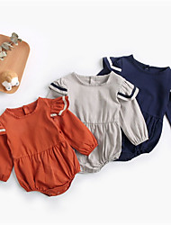cheap -Baby Girls' Jumpsuits Active Casual Daily Street Weekend Gray Dusty Blue Orange Decor Color Block Pleated Long Sleeve