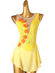 cheap -Figure Skating Dress Women's Girls' Ice Skating Dress Yellow Open Back Patchwork High Elasticity Training Competition Skating Wear Handmade Classic Sleeveless Ice Skating Figure Skating