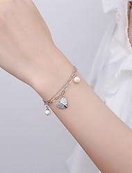 cheap -Women's Bracelet Classic Heart Korean S925 Sterling Silver Bracelet Jewelry Silver For Wedding