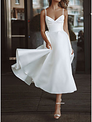 cheap -A-Line Wedding Dresses V Neck Spaghetti Strap Tea Length Satin Sleeveless Simple Sexy Little White Dress with Solid Color 2021