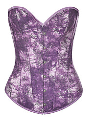 cheap -Corset Women's Corsets Overbust Corset Retro Tummy Control Abstract Flower Buckle Polyester Party & Evening Club Fall Winter Summer Purple Gray White