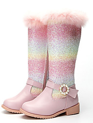 cheap -Girls' Boots Snow Boots Princess Shoes Leather PU Portable Snow Boots Big Kids(7years +) Little Kids(4-7ys) Daily Party & Evening Walking Shoes Crystal / Rhinestone Pink Fall Winter / Mid-Calf Boots
