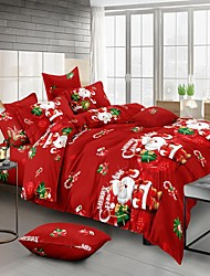 cheap -Christmas Santa Claus Printed 3-Piece Duvet Cover Set Hotel Bedding Sets Comforter Cover with Soft Lightweight Microfiber, Include 1 Duvet Cover, 2 Pillowcases for Double/Queen/King(1 Pillowcase for Twin/Single)