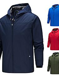 cheap -Men's Outdoor Jacket Daily Outdoor Fall Winter Regular Coat Zipper Hoodie Regular Fit Waterproof Windproof Breathable Sports Jacket Long Sleeve Solid Color Pocket Dark Grey Blue Black