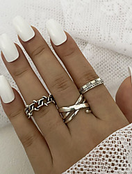 cheap -Ring Retro Silver Gold Silver 2 Alloy Moon Letter Star Stylish Rustic / Lodge Simple 3pcs / Women's / Men's / Knuckle Ring