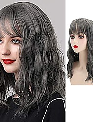 cheap -Short Wavy Wig with Bangs, Curly Bob Wig for Women Shoulder Length Full Wig Synthetic Heat Resistant Hair Wigs for Women Girls Daily Wear Cosplay 18 inch (Gray)